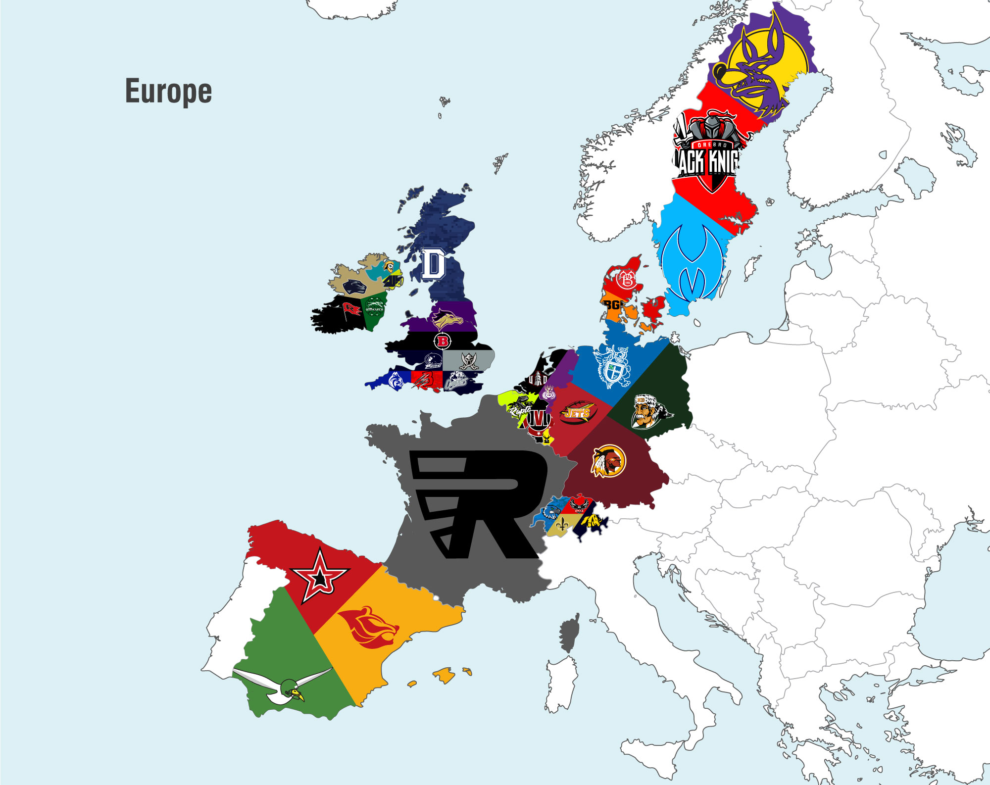 Ridge Sports uniforms map europe