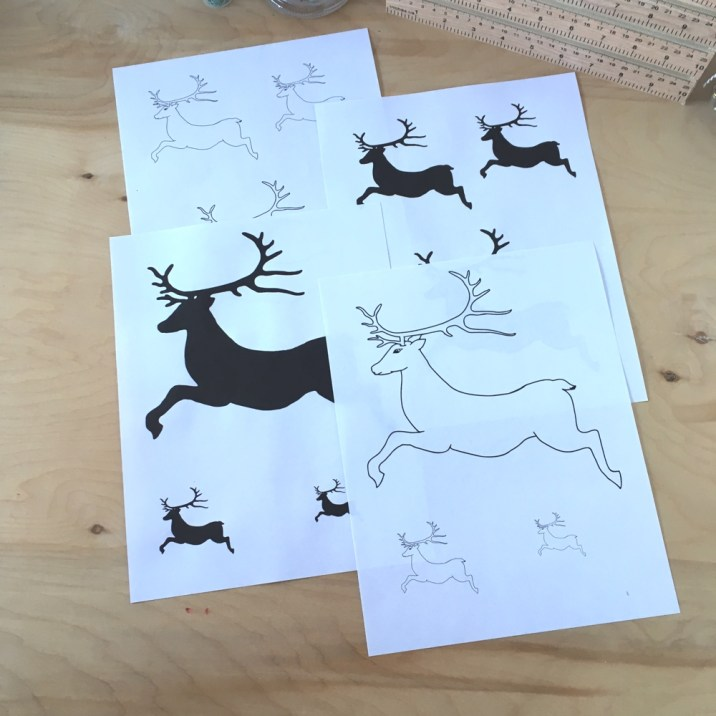 Reindeer line drawing and silhouette