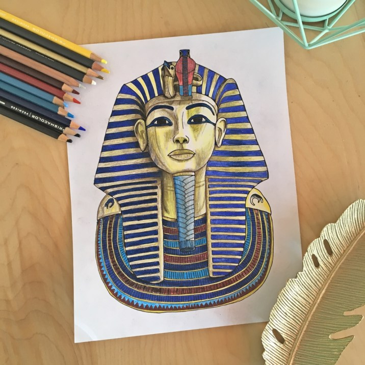 Tut's Mask in Colored Pencil