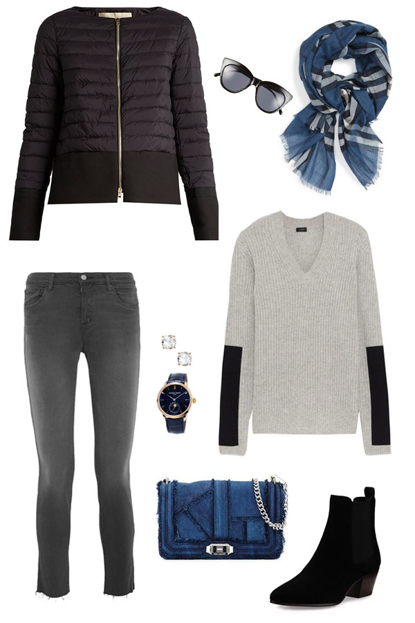 Looking for a new look for the weekend, Ridgely Brode picks a grey palate with black and blue accents on her blog Ridgely's Radar.
