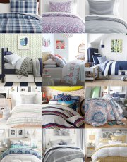 Ridgely Brode is looking for bedding for her sons for their dorm life and finds a options for both girls and boys on her blog, Ridgely