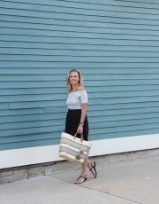 Ridgely Brode picked up this scalloped black lace skirt recently and paired it with a off the shoulder striped t-shirt on her blog, Ridgely