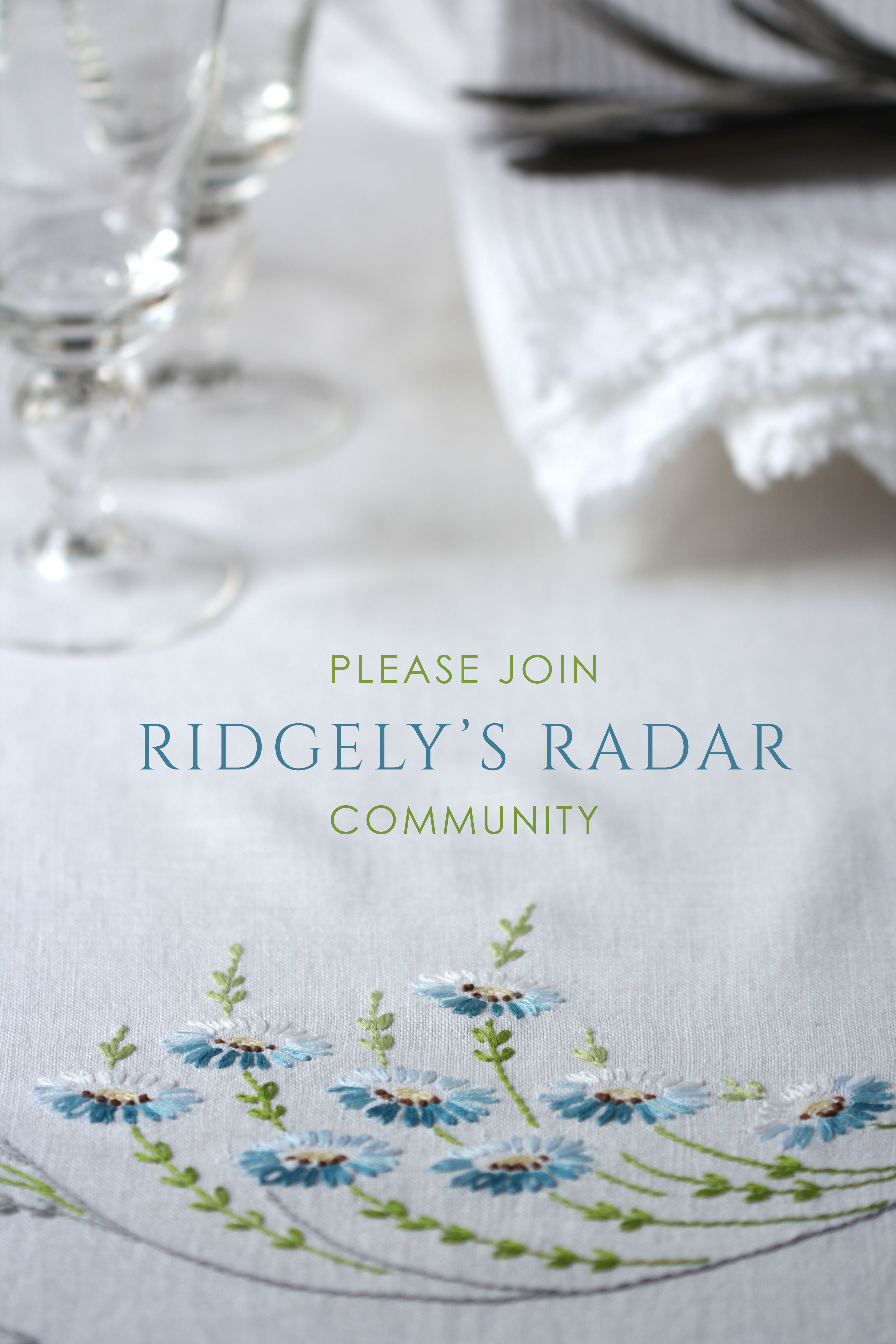 Ridgely Brode has created a Ridgely's Radar Community to share and have conversations with her readers in a private forum and hopes everyone will join her.