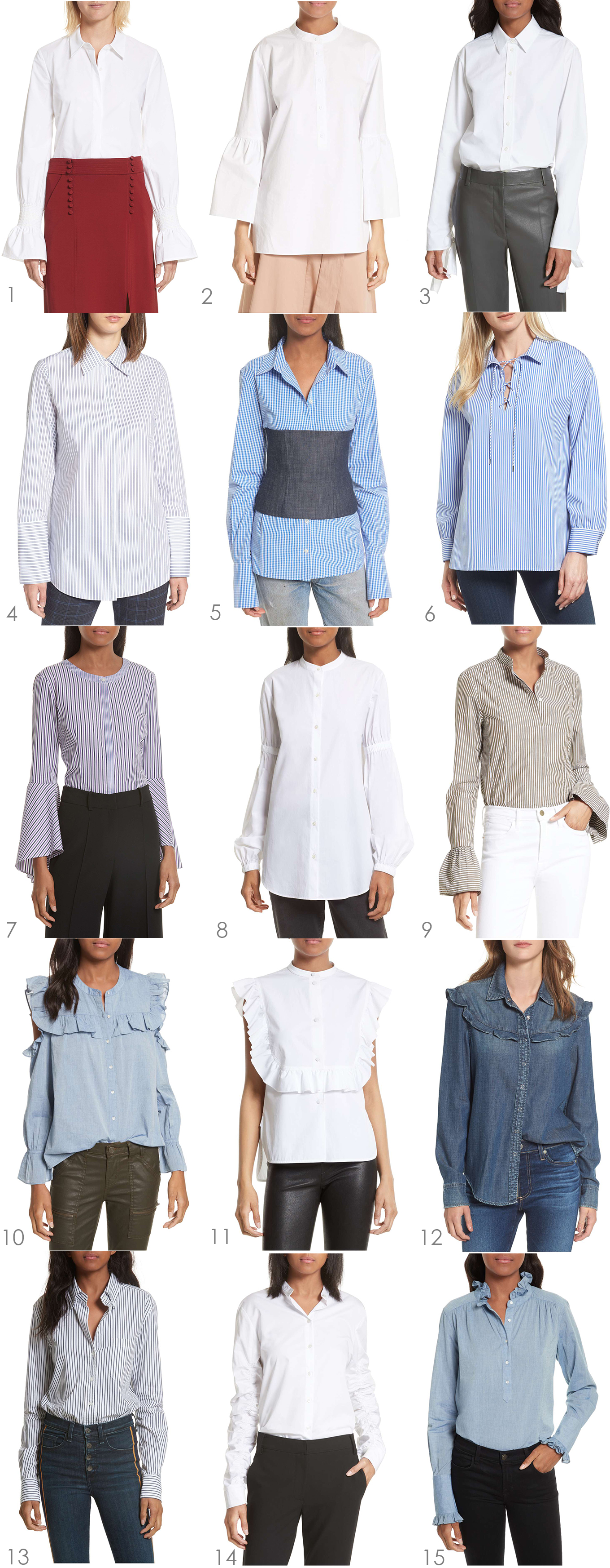 Ridgely Brode discovers 15 Updated Button Down Shirts that will up her style game and work uniform on her blog, Ridgely's Radar.