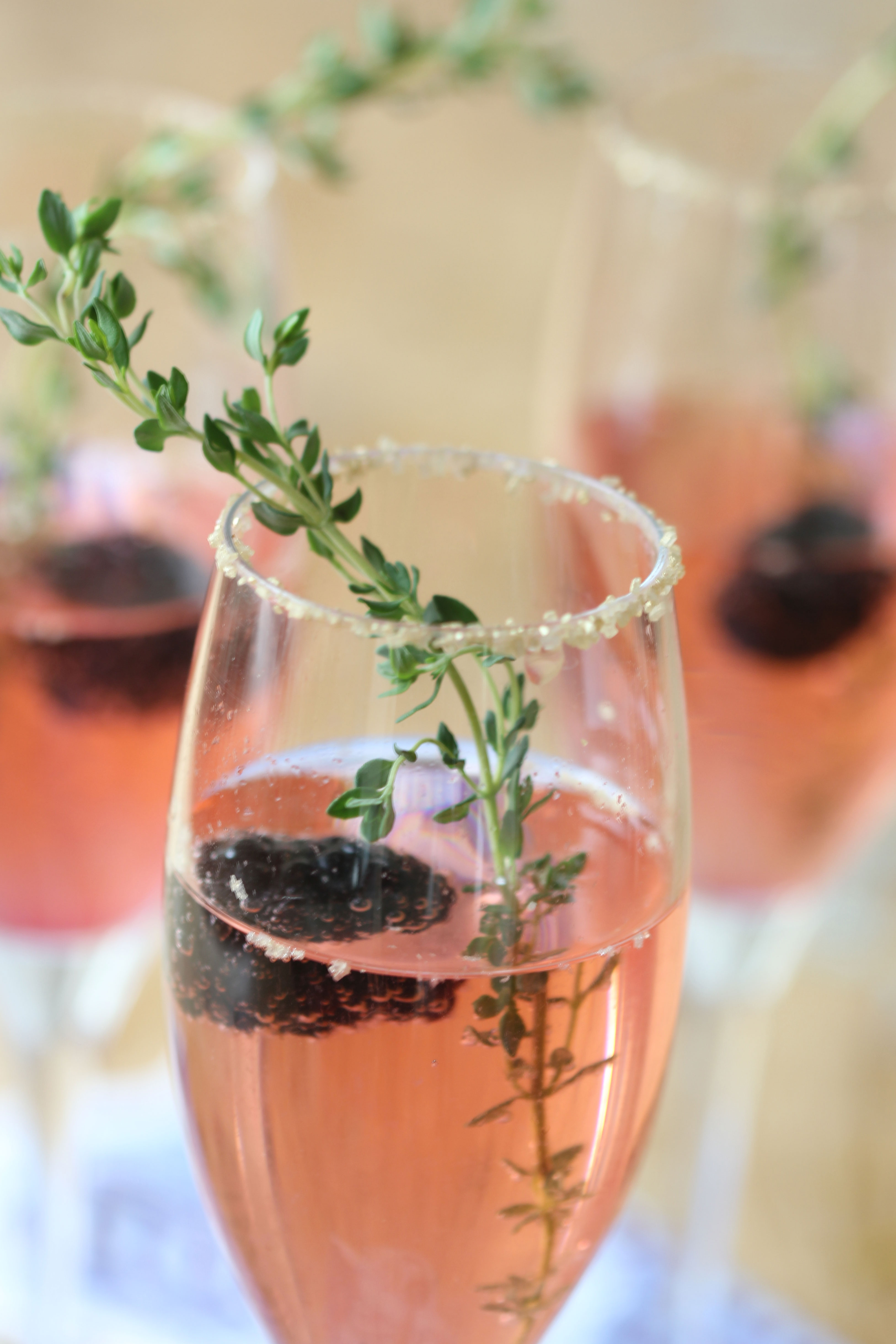 Ridgely Brode makes a Blackberry Thyme Champagne Cocktail for New Years and features the recipe on her blog Ridgely's Radar.