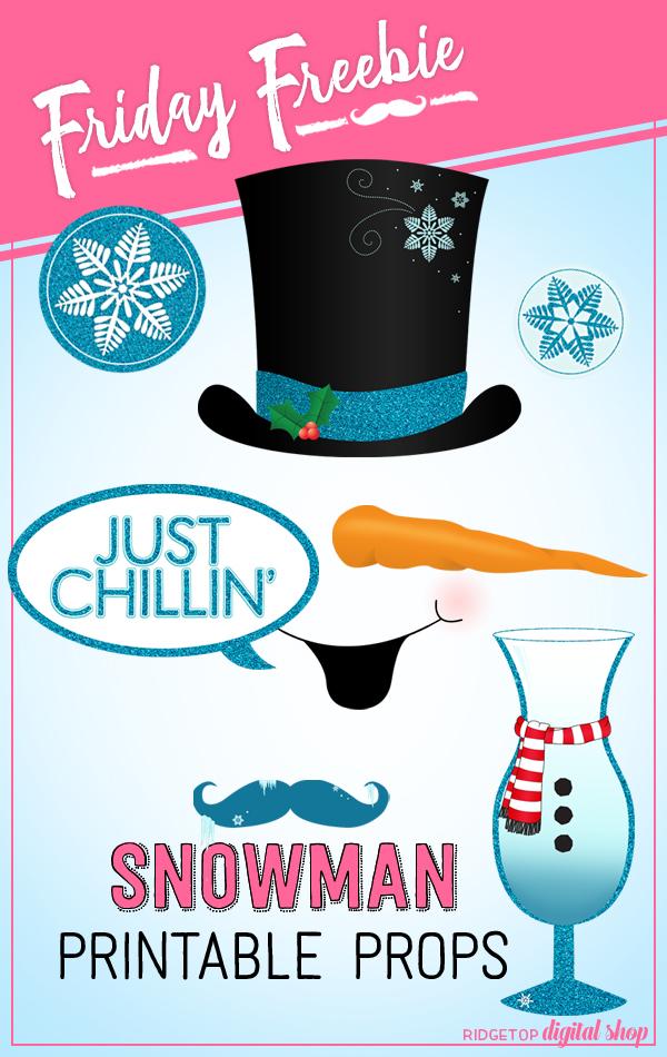 Ridgetop Digital Shop | Friday Freebie | Snowman Printable Photo Booth Props