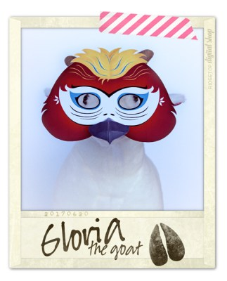 Ridgetop Digital Shop | Friday Freebie | Parrot Mask Free Printable | Gloria the Goat