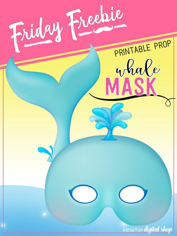 Ridgetop Digital Shop   Friday Freebie   Whale Mask Free Printable