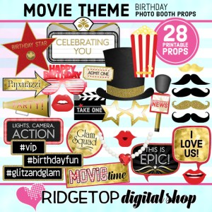 Ridgetop Digital Shop | Movie Night Birthday | Photo Booth Props