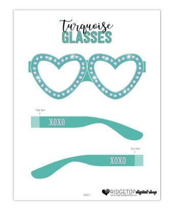 Ridgetop Digital Shop | Friday Freebie | Turquoise Glasses | Printable