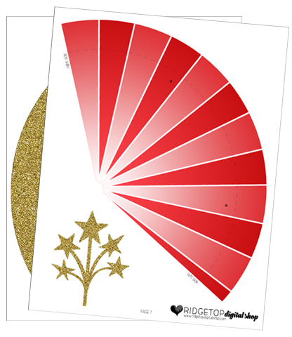 Ridgetop Digital Shop   Friday Freebie   Party Hat   Red and Gold   Printable