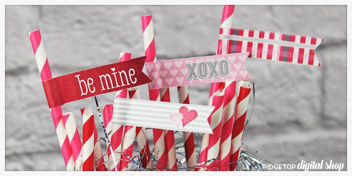 Ridgetop Digital Shop | Friday Freebie | Straw Flags | Valentine Printable