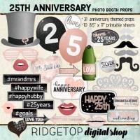 Ridgetop Digital Shop   25th Anniversary Photo Props   Anniversary Photo Booth   Rose Gold
