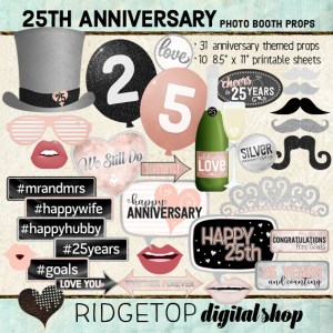Ridgetop Digital Shop | 25th Anniversary Photo Props | Anniversary Photo Booth | Rose Gold