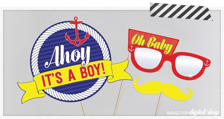 Ridgetop Digital Shop | Nautical Baby Shower Photo Booth Props | Ahoy It's a Boy