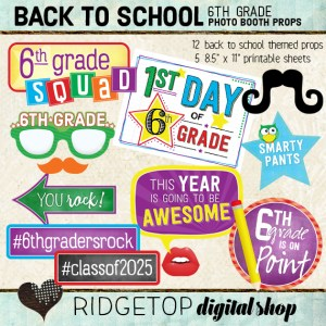 Ridgetop Digital Shop | Back to School - 6th Grade Photo Props