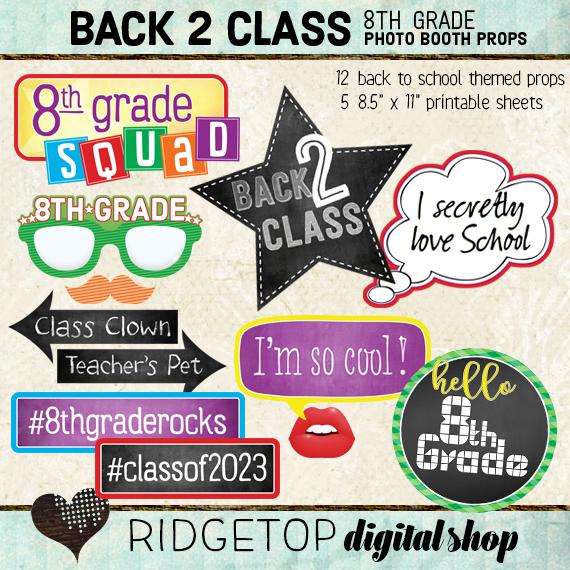 Ridgetop Digital Shop | Back to School - 8th Grade Photo Props