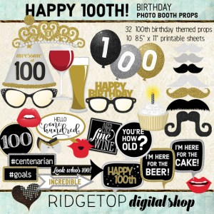 Ridgetop Digital Shop | 100th Birthday Party Photo Booth Props