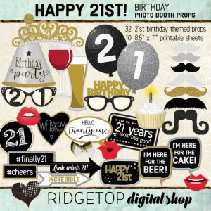 Ridgetop Digital Shop | 21st Birthday Party Photo Booth Props | Black Silver Gold