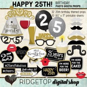 Ridgetop Digital Shop | 25th Brithday Party Photo Props