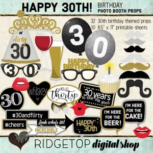 Ridgetop Digital Shop | 30th Birthday Party Photo Props