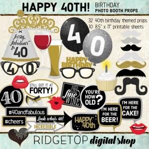 Ridgetop Digital Shop | 40th Birthday Party Photo Booth Props