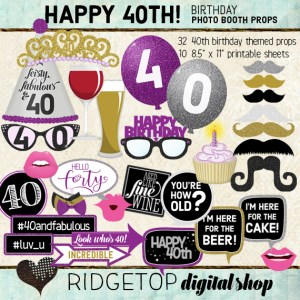 Ridgetop Digital Shop | Purple Birthday Party | Photo Booth Props