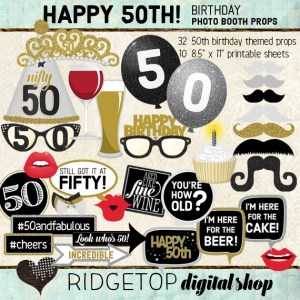 Ridgetop Digital Shop | 50th Birthday Party Photo Booth Props