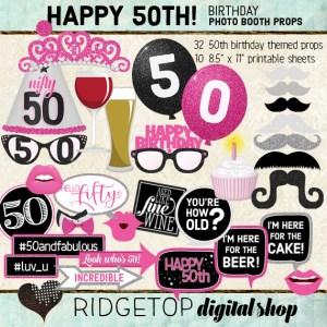 Ridgetop Digital Shop | 50th Birthday Photo Booth Props