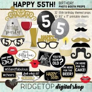 Ridgetop Digital Shop | 55th Birthday Party Photo Booth Props