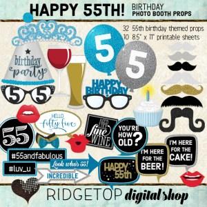 Ridgetop Digital Shop | 55th Birthday Party | Blue Photo Props
