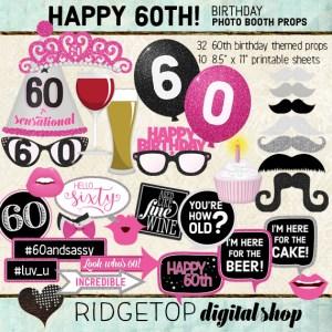 Ridgetop Digital Shop | 60th Birthday Photo Booth Props