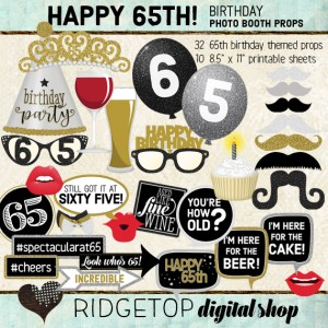 Ridgetop Digital Shop | 65th Birthday Party Photo Booth Props