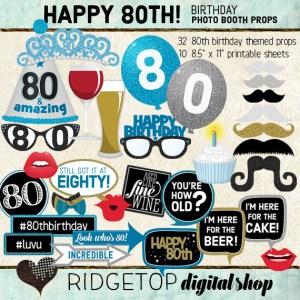 Ridgetop Digital Shop | 80th Birthday Party | Blue Photo Props