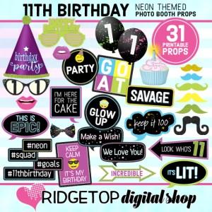 Ridgetop Digital Shop | Neon 11th Birthday Photo Props