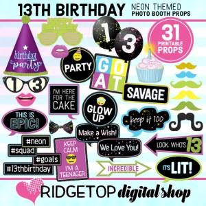 Ridgetop Digital Shop | Neon 13th Birthday Photo Props