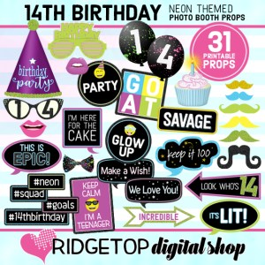 Ridgetop Digital Shop | Neon 14th Birthday Photo Props