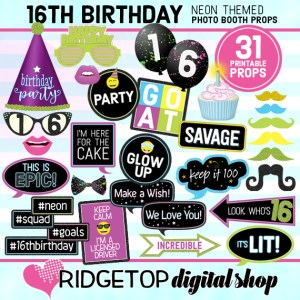 Ridgetop Digital Shop   Neon 16th Birthday Photo Props