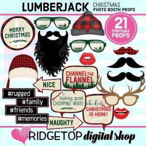 Ridgetop Digital Shop | Lumberjack Christmas Photo Props | Christmas Photo Booth