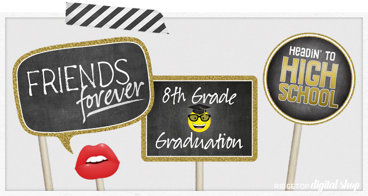 Class of 2024 Photo Booth Props | 5th Grade Graduation | Printable Graduation Party Decor | Ridgetop Digital Shop