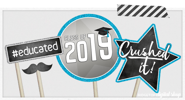 Ridgetop Digital Shop | Class of 2019 Photo Props - Blue, Silver | Graduation Photo Booth