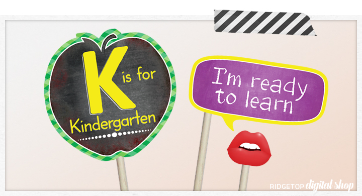Ridgetop Digital Shop | Back to School - Kindergarten Photo Props