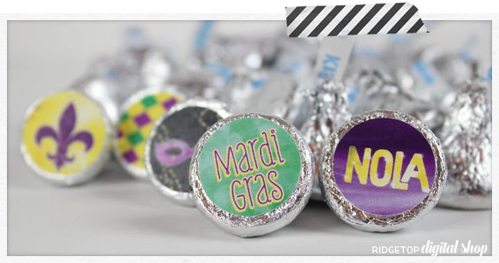 Ridgetop Digital Shop | Snapshot | Mardi Gras Candy Stickers Free Printable | Hershey's kiss