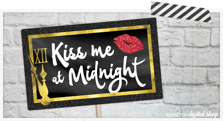 Ridgetop Digital Shop | Kiss Me at Midnight Photo Props | New Year's Eve Photo Booth