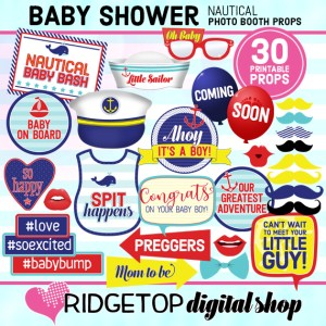 Ridgetop Digital Shop | Nautical Baby Shower Photo Props