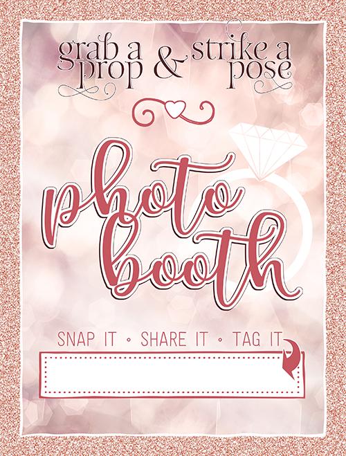 Ridgetop Digital Shop   Bridal Champagne Photo Booth Sign   Rose Gold Anniversary   Wedding   Bachelorette Party