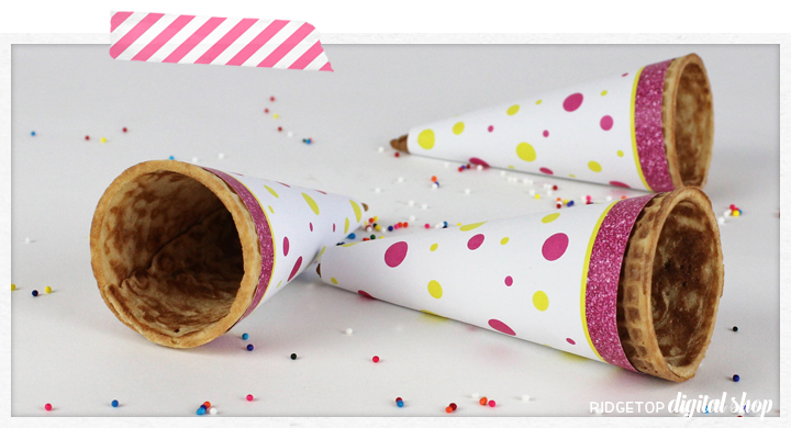 Ridgetop Digital Shop | Ice Cream Cone Wrapper | Pink and Yellow Party