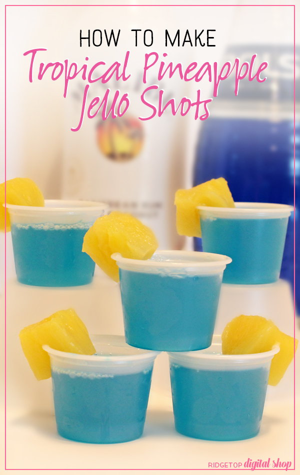 Ridgetop Digital Shop | Tropical Pineapple Jello Shot | Coconut | Malibu Rum | Blue Curacao Liqueur