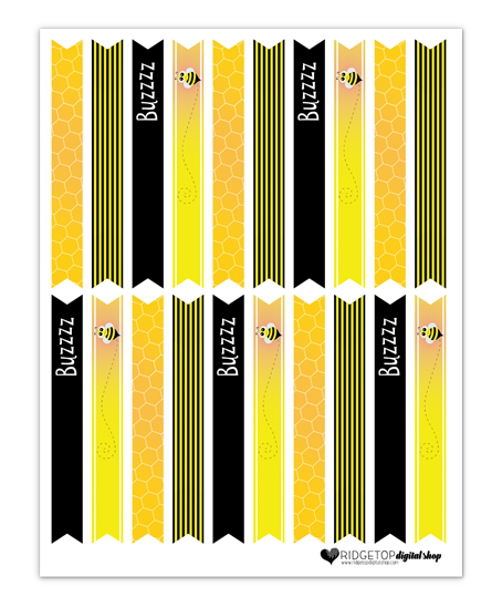 Ridgetop Digital Shop | Friday Freebie | Bee Straw Flags | Free Printable | Bee Theme Party