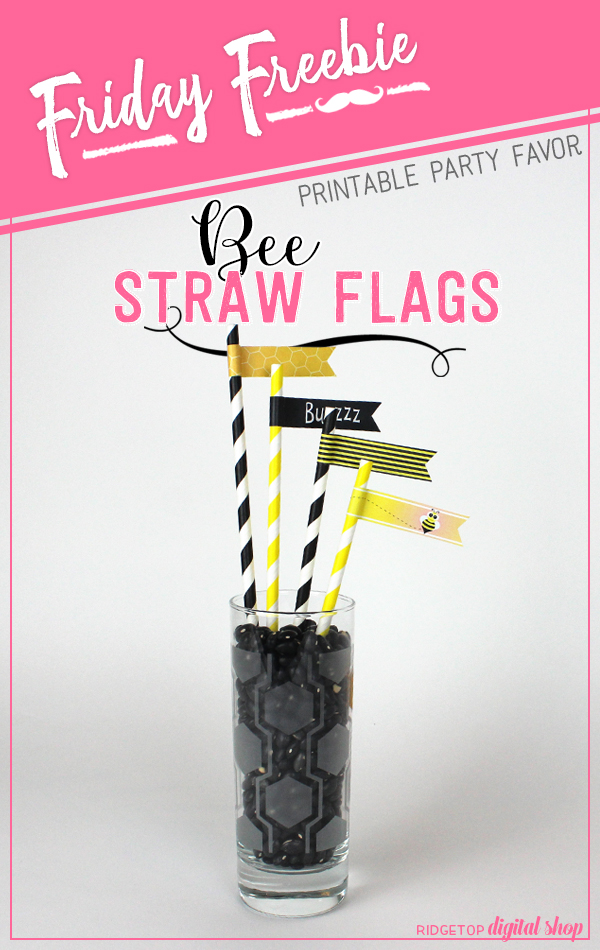 Bee Straw Flags Free Printable | Bee Theme Party | Ridgetop Digital Shop
